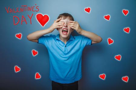 adolescence: adolescence boy closed his eyes his hands yelling Valentines Day celebration cartoon sketch Stock Photo