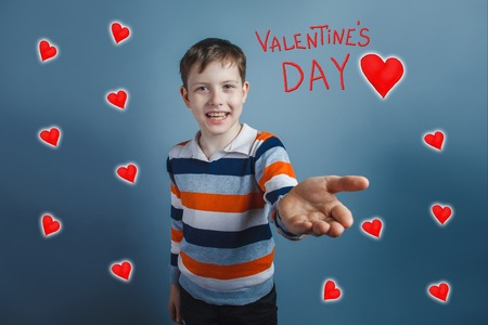 sketch out: boy holds out a hand salute Valentines Day celebration cartoon sketch