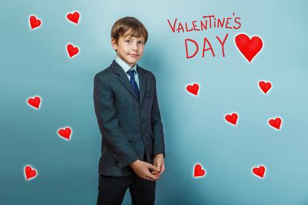 adolescence: boy businessman adolescence is Valentines Day celebration cartoon sketch