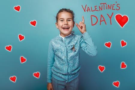 adolescence: girl adolescence finger lifted upwards and laughs Valentine celebration cartoon sketch