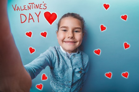 adolescence: girl adolescence smiling valentines day celebration cartoon sketch Stock Photo