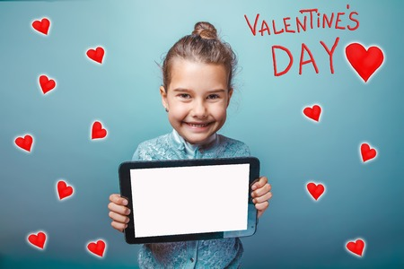 adolescence: girl holds the tablet of adolescence and laughs happy Valentines holiday cartoon sketch