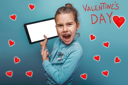 yells: Girl points a finger to the tablet and yells Valentines Day celebration cartoon sketch