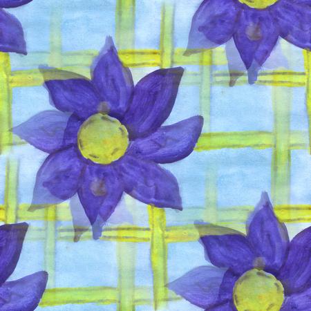 blue violet: watercolor  violet blue flower pattern seamless floral background illustration spring  wallpaper vintage art flowers