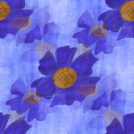 blue violet: watercolor  flower violet blue pattern seamless floral background illustration spring  wallpaper vintage art flowers
