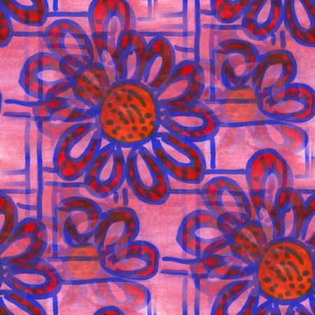 spring flower: watercolor  flower pattern seamless berry red blue floral background spring illustration wallpaper vintage art flowers