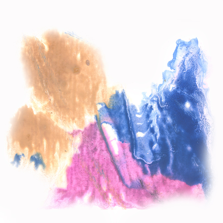 pink brown: abstract  splash watercolor pink brown blue ink blot watercolour isolated white background