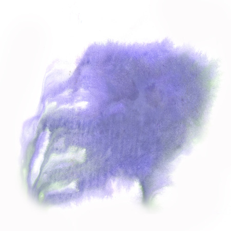 green ink: abstract  splash watercolor purple green ink blot watercolour isolated white background Stock Photo