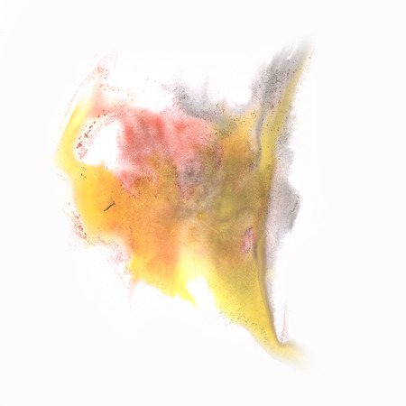 the ink blot: abstract  yellow orange splash watercolor ink blot watercolour isolated white background