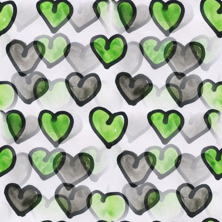 heart abstract: heart art  green valentines day ornament seamless watercolor handmade abstract Stock Photo