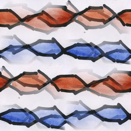 blue stripe: seamless  brown blue stripe wallpaper Watercolor abstract handmade