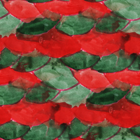 green and red: art green  red ornament seamless watercolor handmade abstract