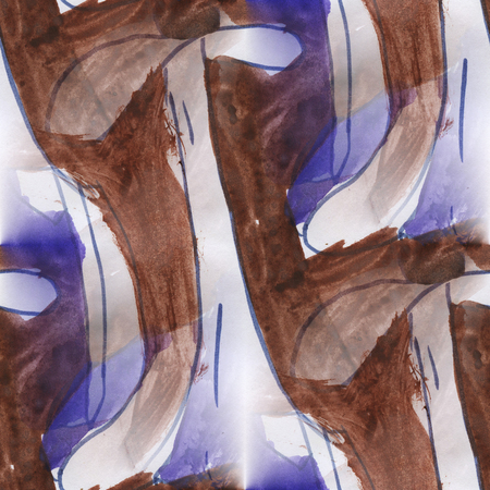 borders abstract: art avant-garde  brown purple impressionism seamless watercolor handmade abstract Stock Photo