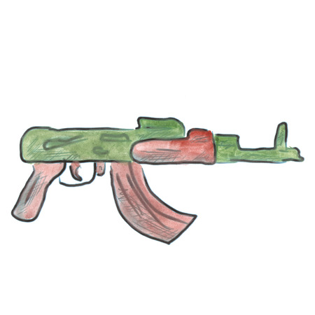 assault rifle: assault rifle  cartoon watercolor isolated
