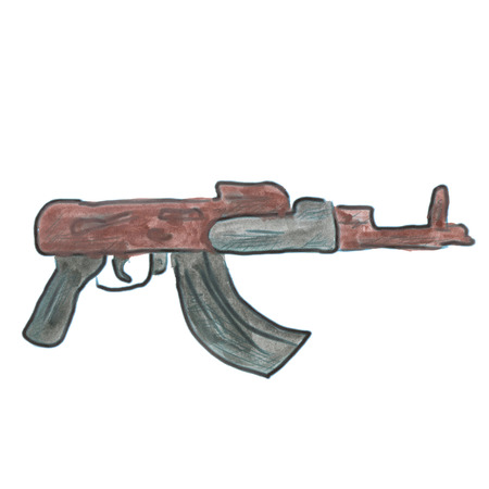 assault: assault  rifle weapon military cartoon watercolor isolated