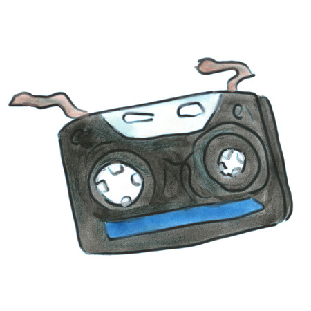 audio cassette: black audio cassette isolated cartoon watercolor Stock Photo
