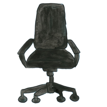 single seat: black chair on wheels isolated cartoon watercolor