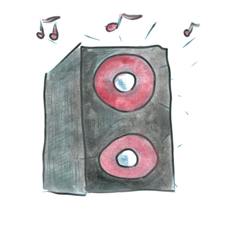 acoustic systems: Black music speaker isolated cartoon watercolor Stock Photo