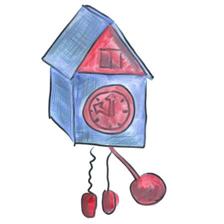 reloj cucu: aislado azul cuco de la acuarela de dibujos animados reloj Foto de archivo
