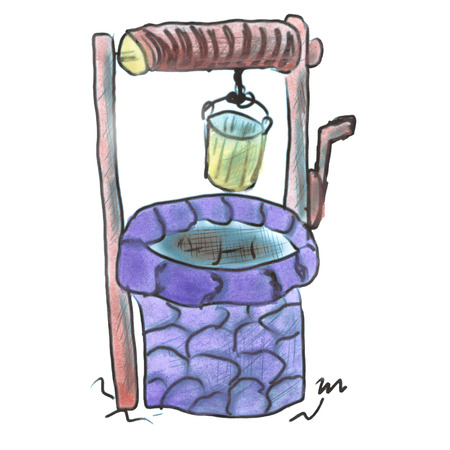 draw well: Purple  water well with a bucket cartoon watercolor isolated Stock Photo