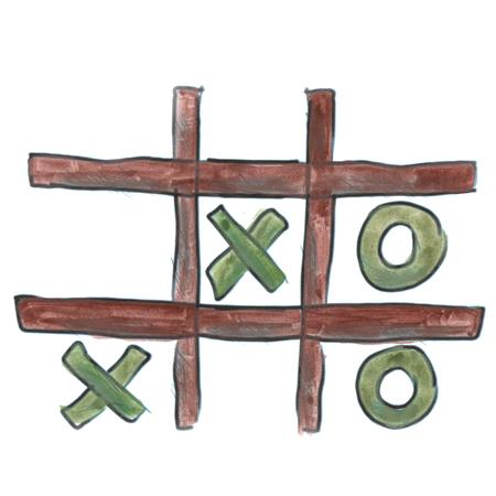 tic tac toe: Green  Tic Tac Toe cartoon watercolor isolated