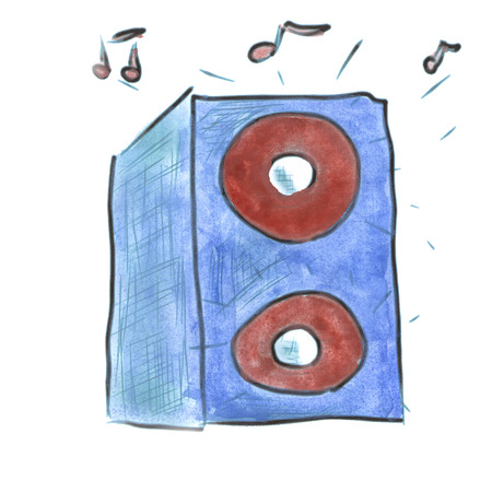 blue  watercolor cartoon music speaker isolated