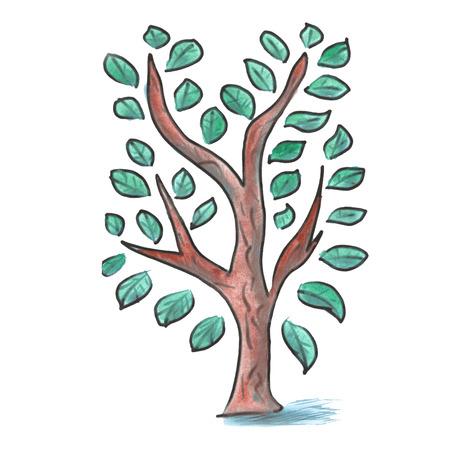 tree isolated: tree  cartoon watercolor isolated handmade Stock Photo