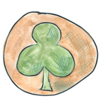 green cross: Green Cross in brown circle cartoon watercolor isolated handmade Stock Photo