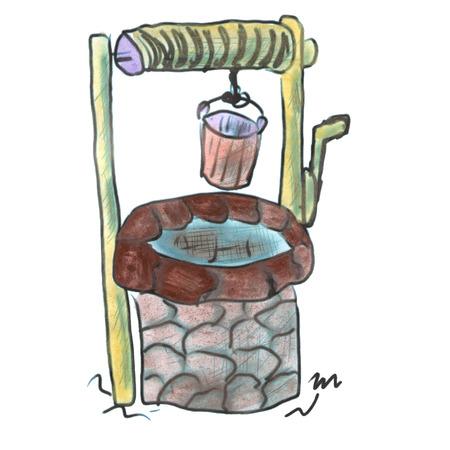 cartoon wood bucket: stone well with a bucket cartoon watercolor isolated handmade