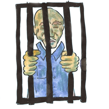 imprisonment: enclosed in a blue robe cartoon watercolor isolated handmade Stock Photo