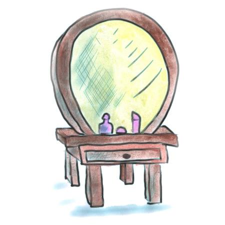 dresser: mirror dresser cartoon watercolor isolated handmade Stock Photo