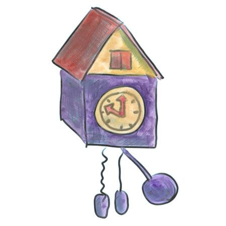 clock cartoon: purple cuckoo clock cartoon watercolor isolated handmade