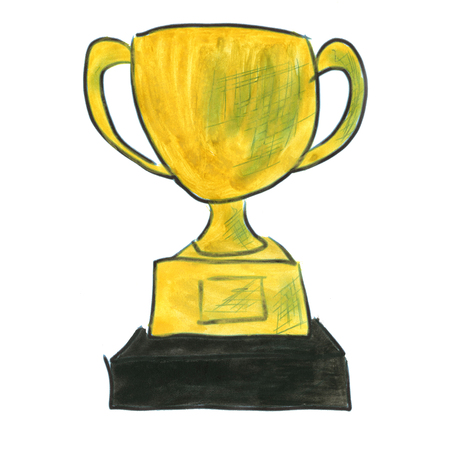 gold cup: gold cup award prize cartoon watercolor isolated handmade Stock Photo