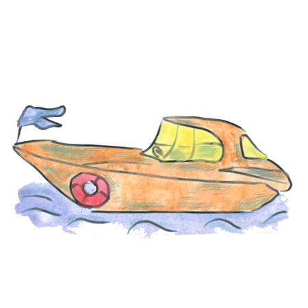motorboat: yellow motorboat cartoon watercolor isolated handmade