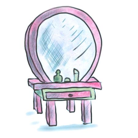 dresser: pink dresser mirror cartoon watercolor isolated handmade