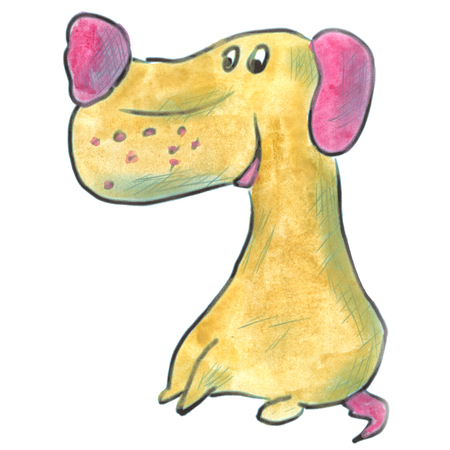 dog ears: brown dog with pink ears cartoon watercolor isolated handmade