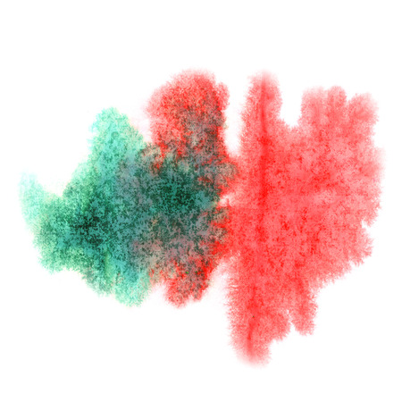 green ink: paint splash color red green ink watercolor isolated stroke splatter watercolour aquarel brush Stock Photo