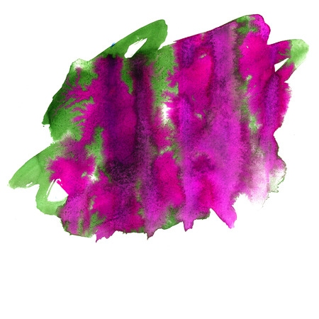 green and purple: water  color watercolor texture purple green splash blotch watercolour Orange isolated on white background Stock Photo