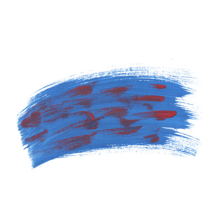 smear: blotch  red blue watercolor handmade smear isolated on white background
