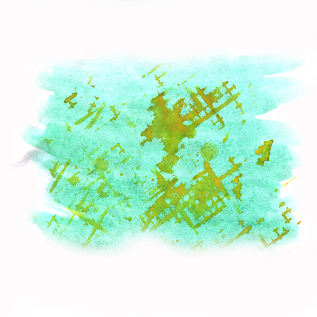 dabs: blue orange color splash stroke abstract watercolor spot macro watercolour blotch texture isolated white background