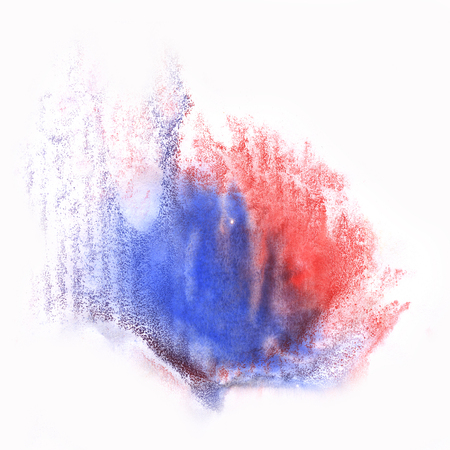 color splash stroke abstract watercolor spot blue red macro watercolour blotch texture isolated white background Stock Photo