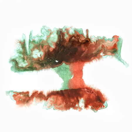 blotch: color splash stroke brown green abstract watercolor spot macro watercolour blotch texture isolated white background