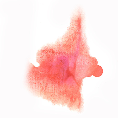 blotch: ink red splatter watercolour dye liquid watercolor macro spot blotch texture isolated on white background Stock Photo