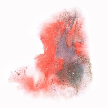 black dye: ink splatter watercolour black red dye liquid watercolor macro spot blotch texture isolated on white background Stock Photo