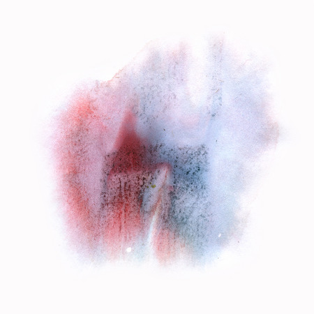 ink splatter: ink splatter watercolour dye liquid blue red watercolor macro spot blotch texture isolated on white background Stock Photo
