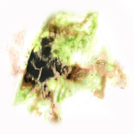 ink splatter: ink splatter watercolour dye liquid watercolor macro brown green spot blotch texture isolated on white background Stock Photo