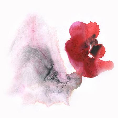 black dye: ink splatter watercolour dye liquid black red watercolor macro spot blotch texture isolated on white background