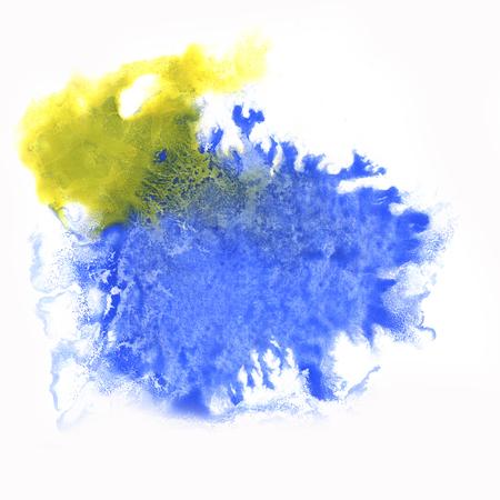 blotch: paint watercolour blue yellow splatter watercolors spot blotch isolated