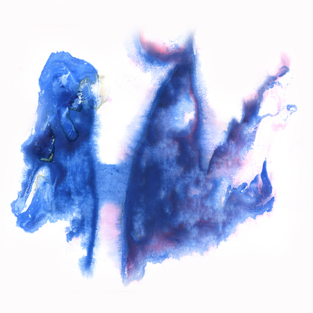 dabs: paint  watercolour splatter watercolors blue spot blotch isolated Stock Photo