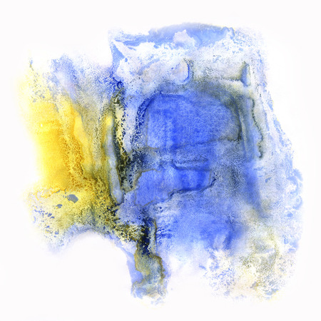 dab: paint watercolour splatter watercolors spot blue yellow blotch isolated